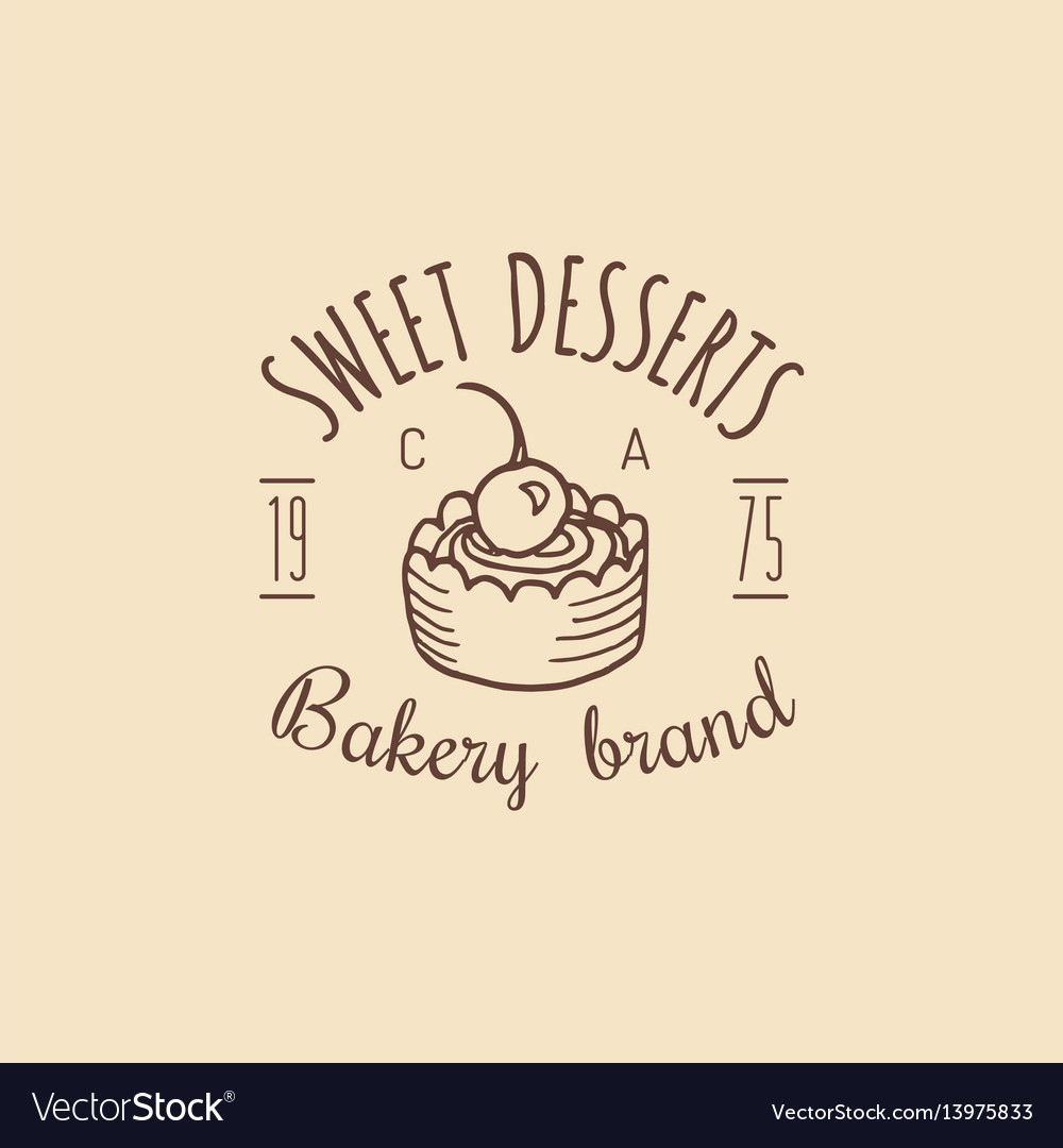 Vintage bakery logo typographic poster