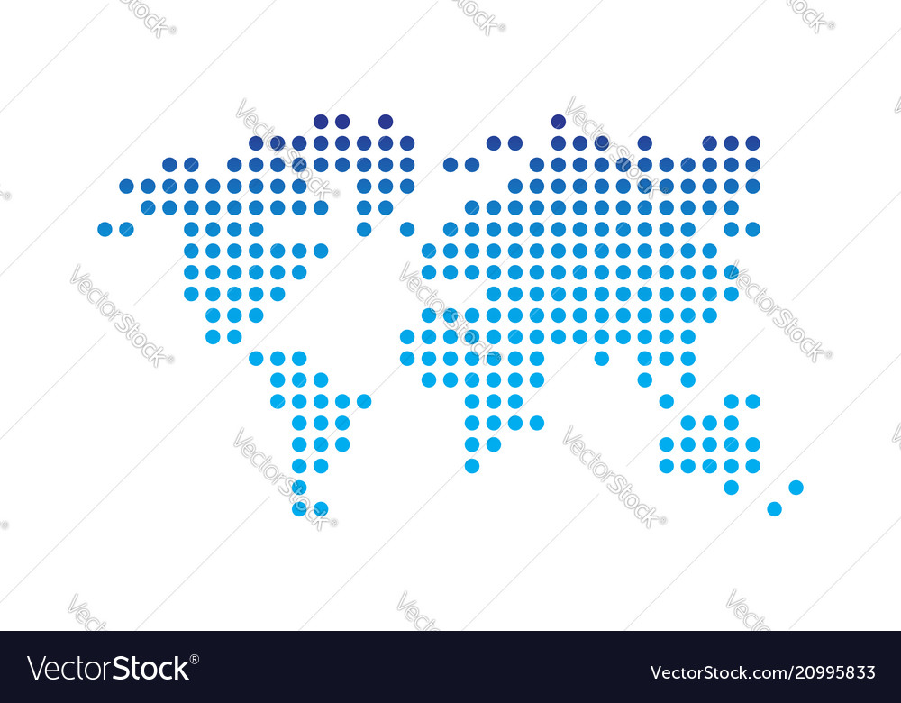 World map dotted style blue gradient color