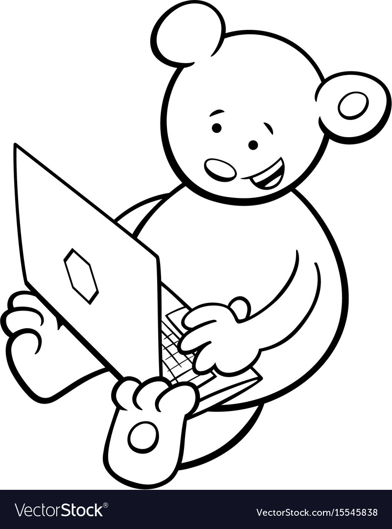 Bear with notebook coloring book