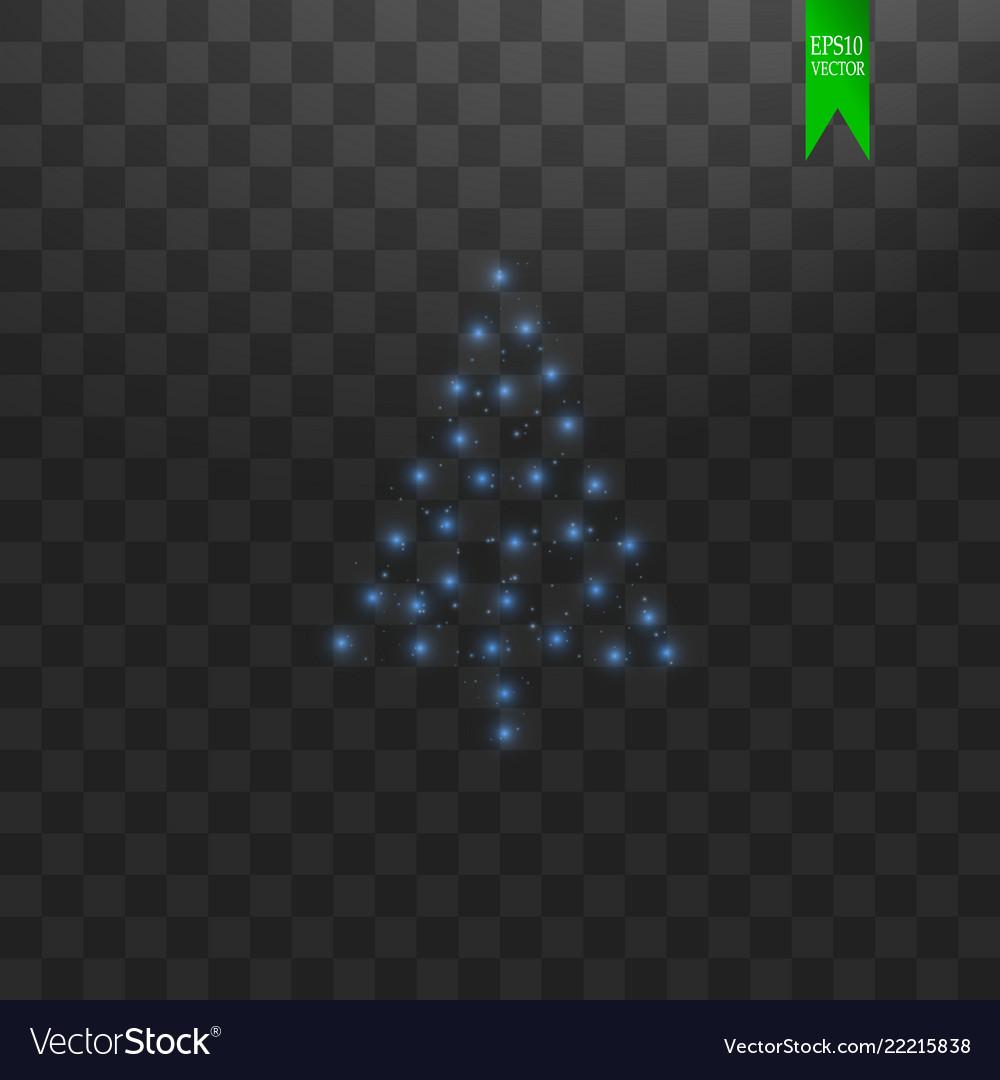 Christmas tree made blue glitter bokeh lights and