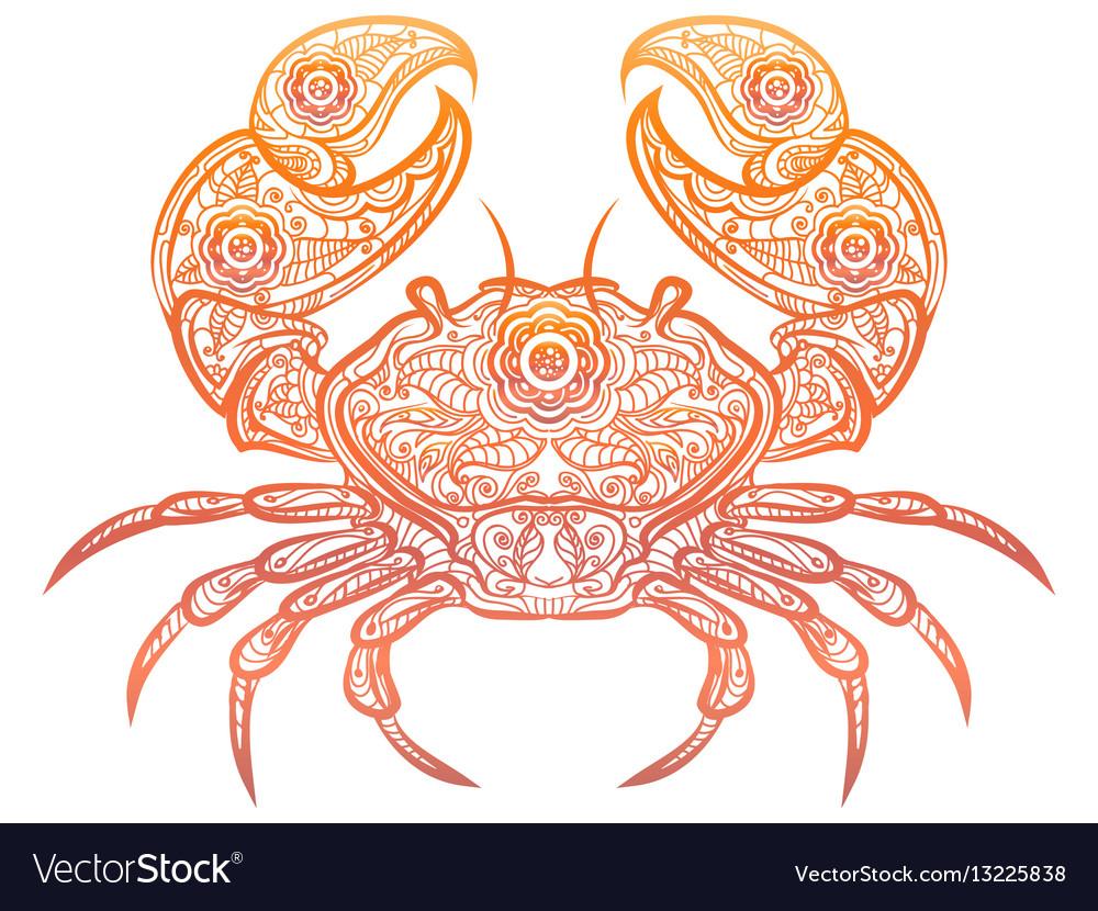 Colorful crab decorative doodle design vector image