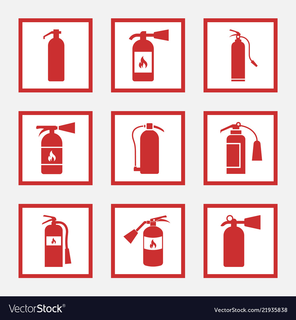 Fire extinguisher signs and icons set