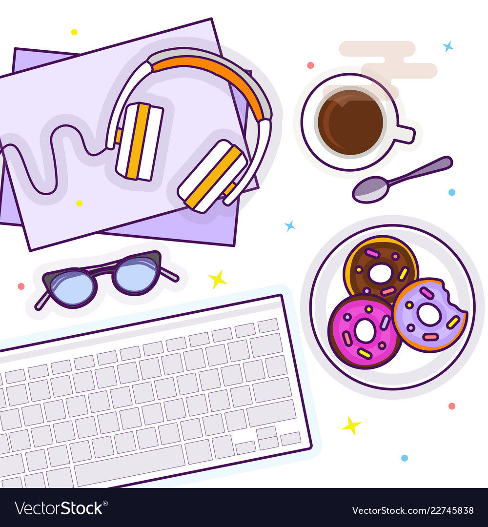 Flat lay with glasses headphones keyboard