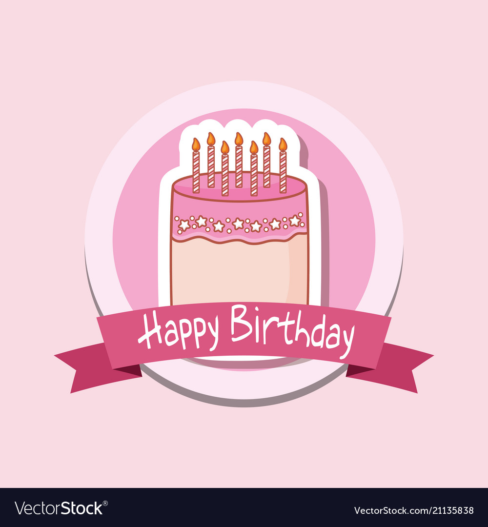 Happy Birthday Frame With Sweet Cake Royalty Free Vector