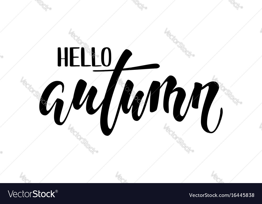 Hello autumn hand drawn calligraphy and brush pen