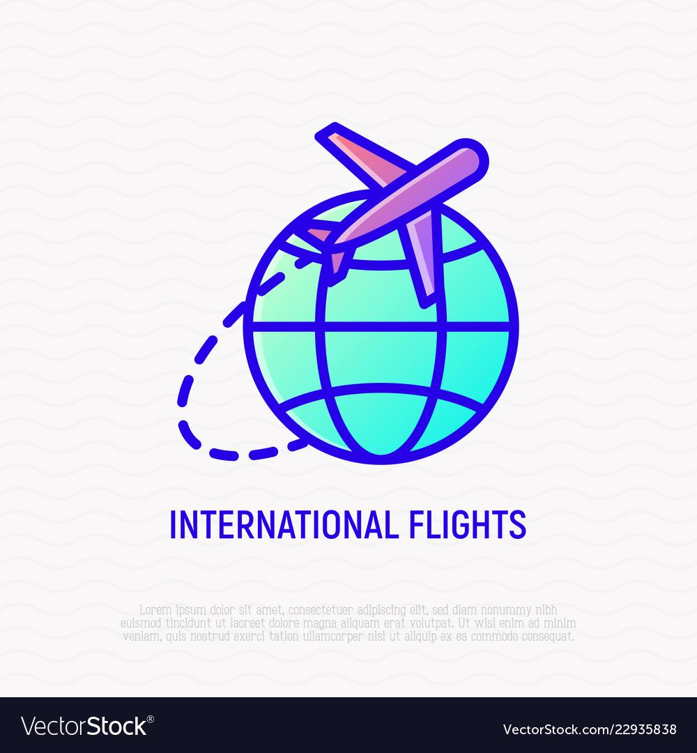 International flights thin line icon