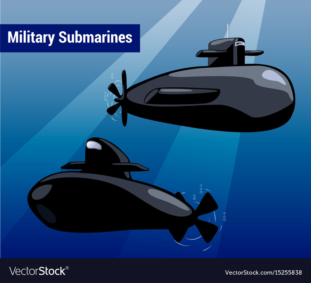 Military submarines in water black sub cartoon