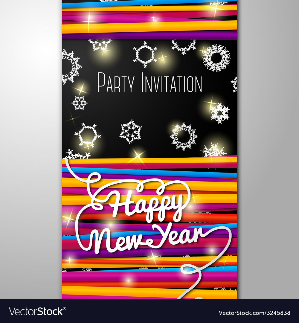 new year party invitation bright laces on black vector image