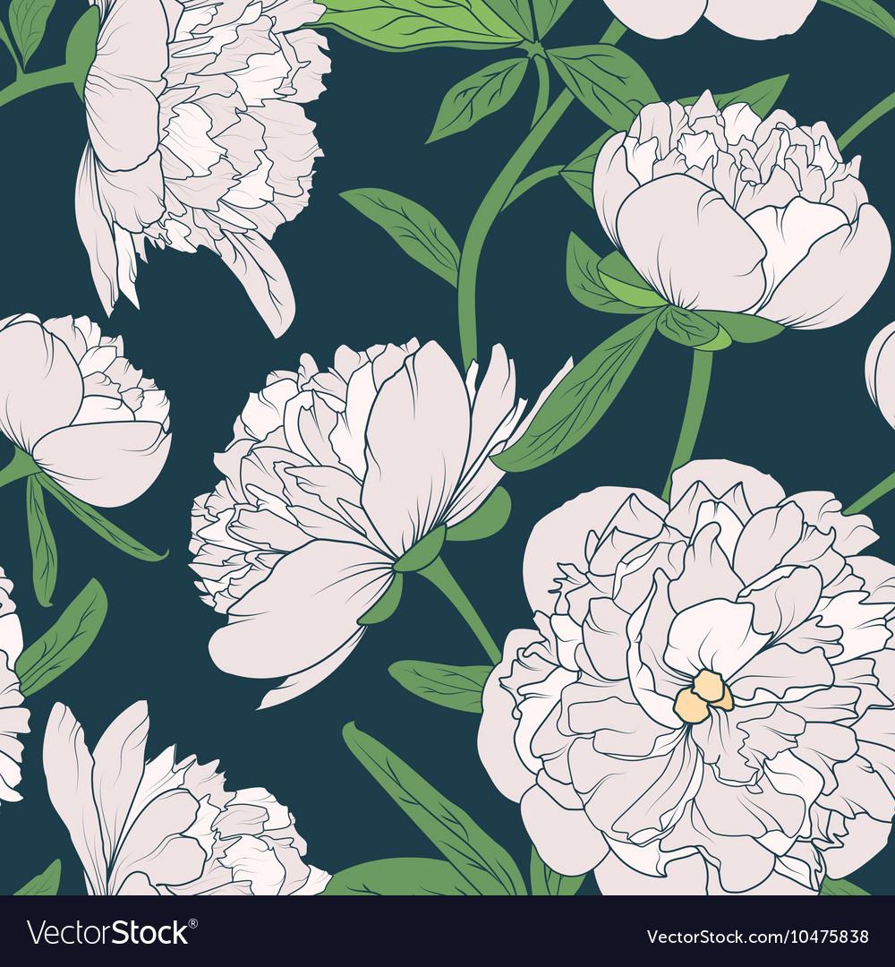 Peony flowers seamless pattern