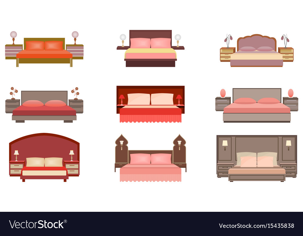 Set of pastel colors nine bed collection with vector image