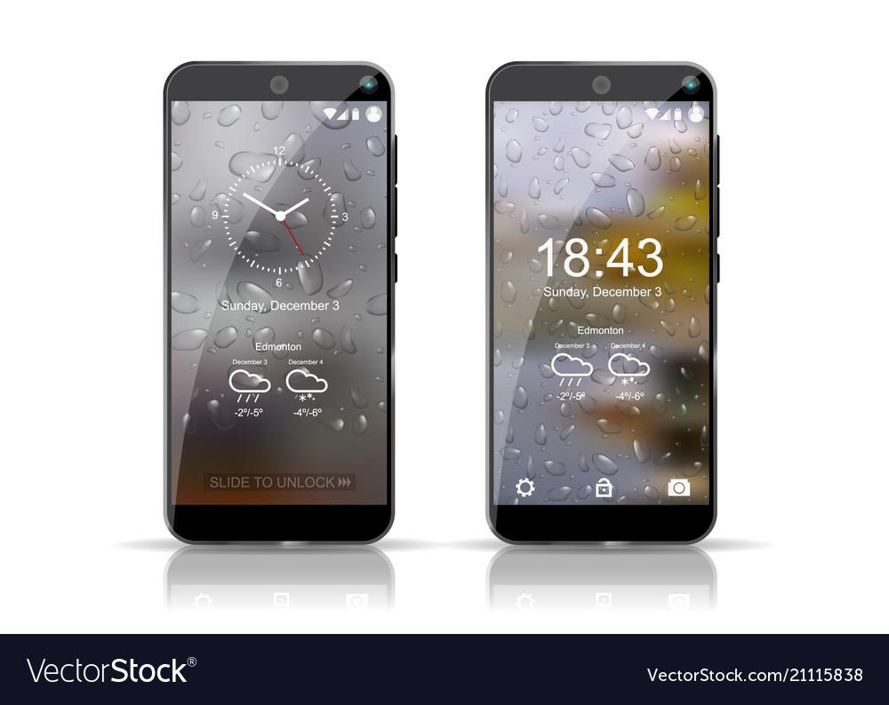 Two smartphones showing weather screensaver well vector image