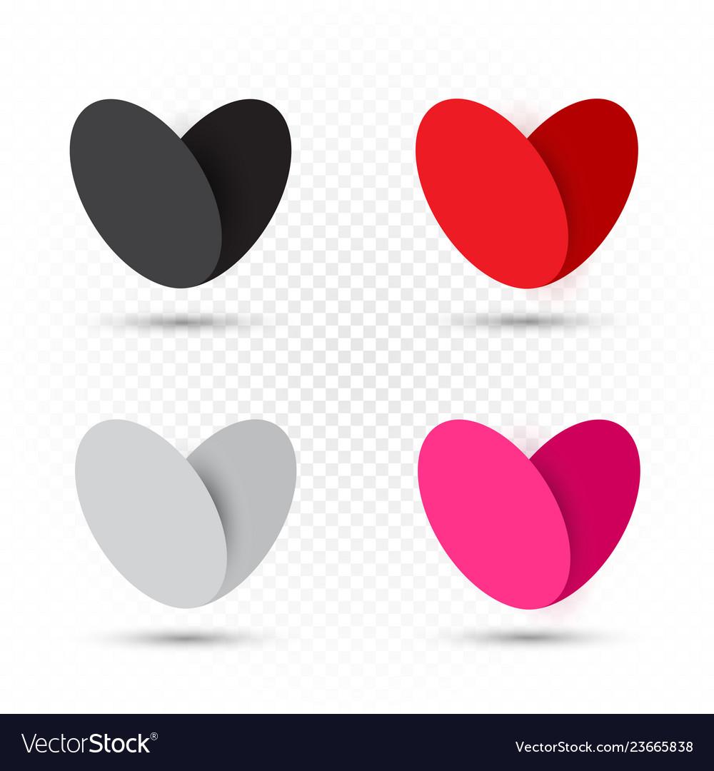 Valentine multicolor hearts set template
