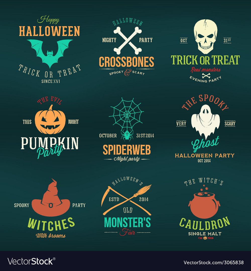 Vintage typography halloween color badges or logos