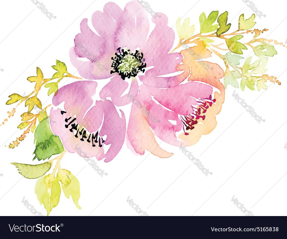 Watercolor greeting card flowers