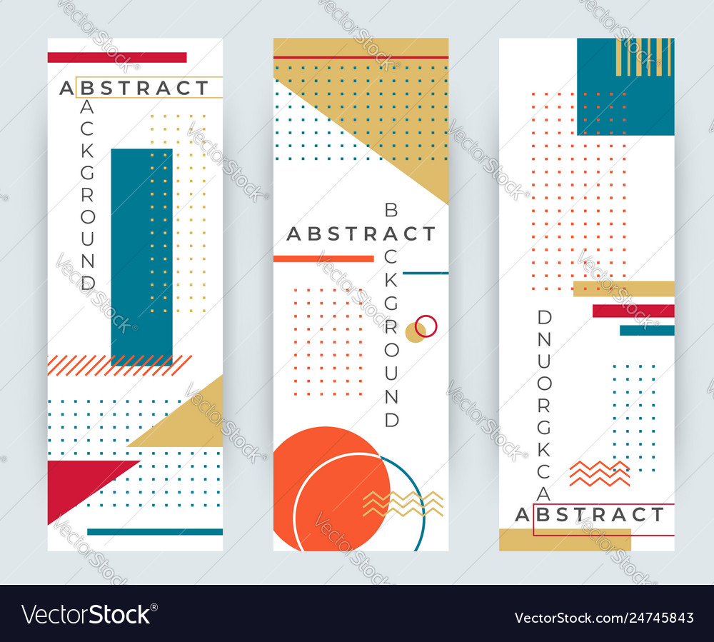 Abstract retro vertical banners with multicolored