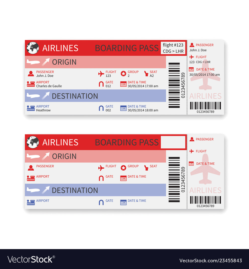 Airline boarding pass ticket isolated on white