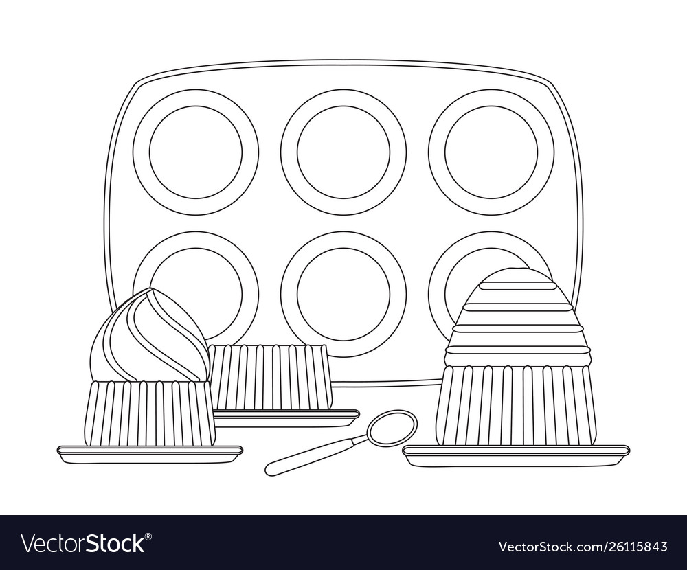 Baking pans for cupcakes and cupcake in plate