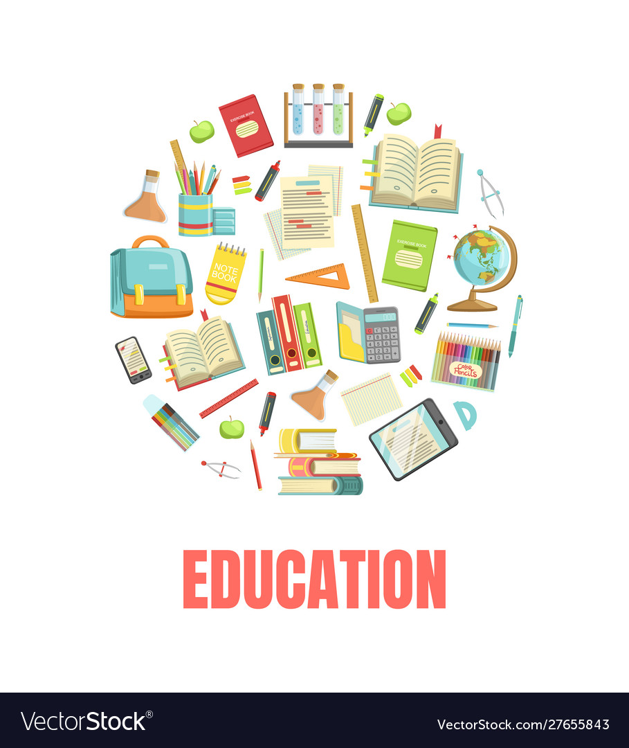 Education Banner Template With School Supplies Od Vector Image