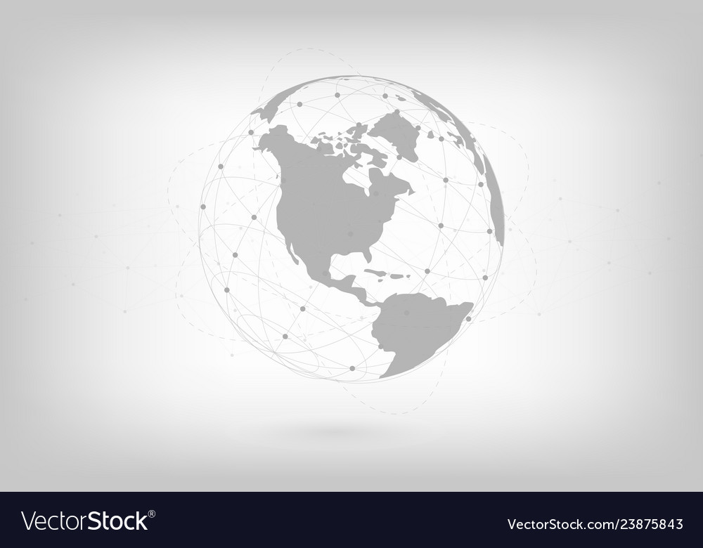 Global network lines connection world map point