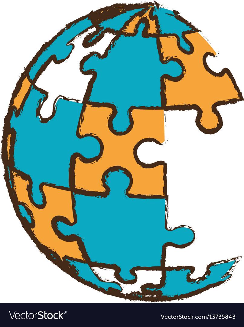 Globe puzzle pieces image
