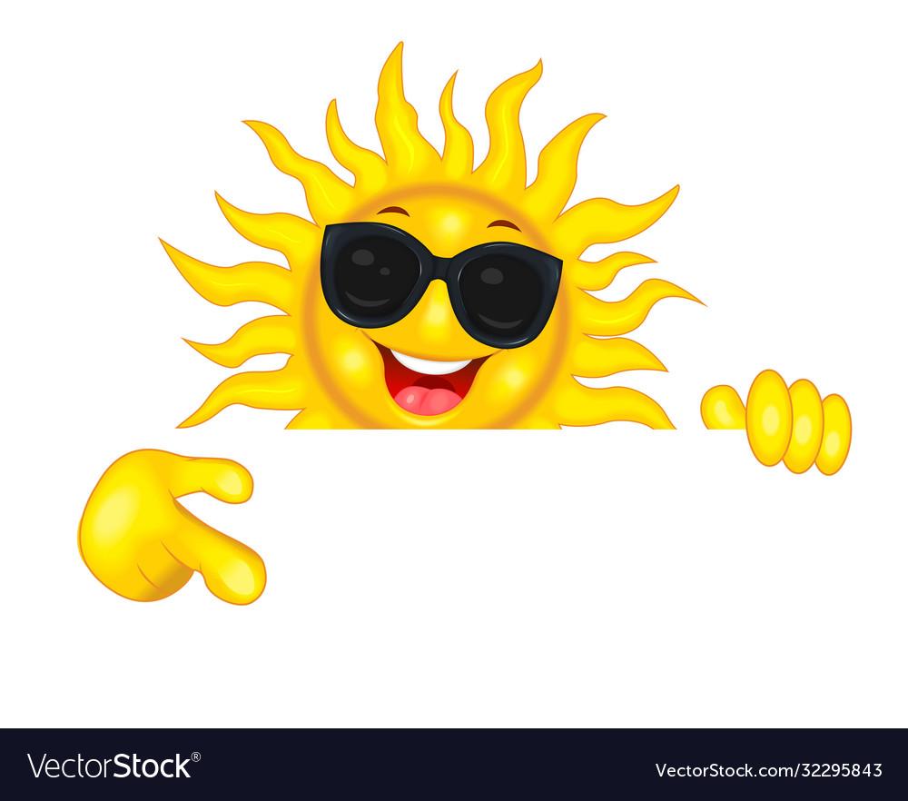 Joyful sun in sunglasses points a hand