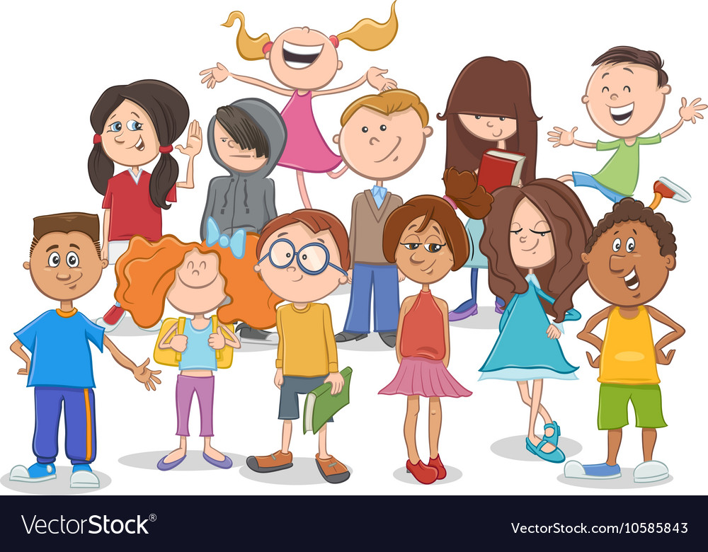 Kids or teens group cartoon