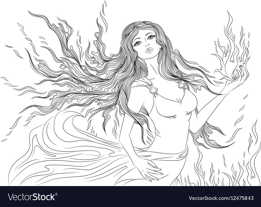 Line art of fire element girl vector image