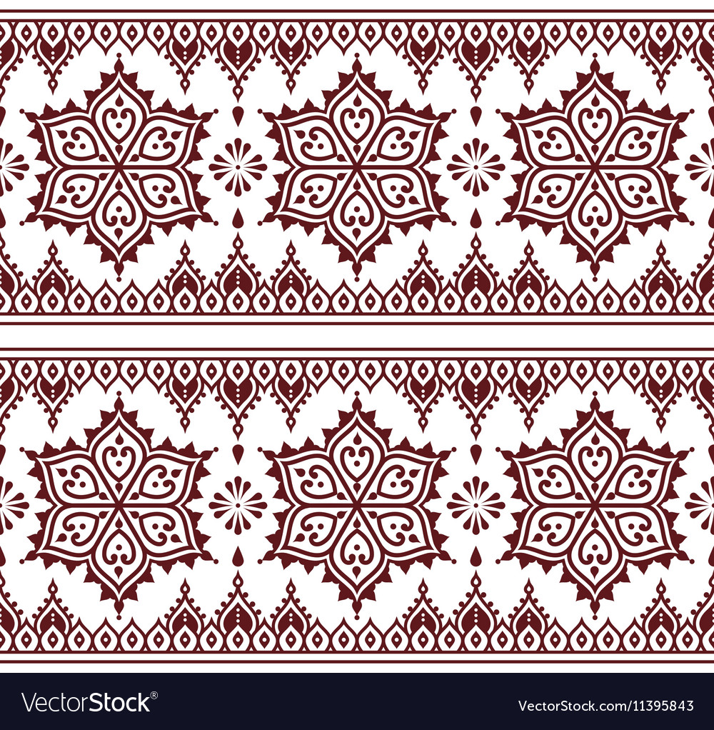 Mehndi indian henna tattoo brown seamless pattern