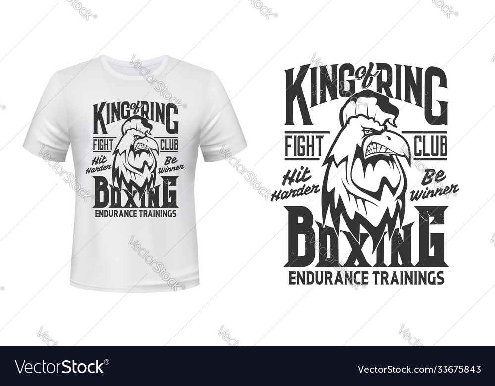 Rooster print t-shirt mockup boxing fight club