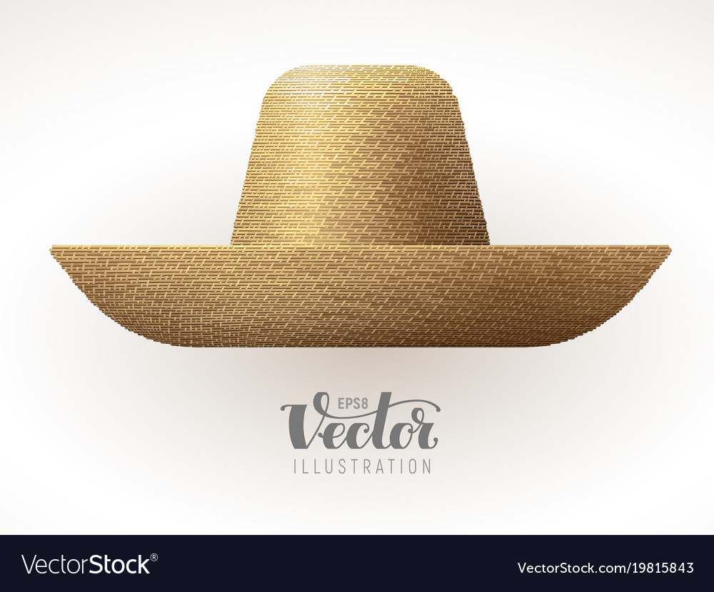 Straw hat isolated on white background vector image