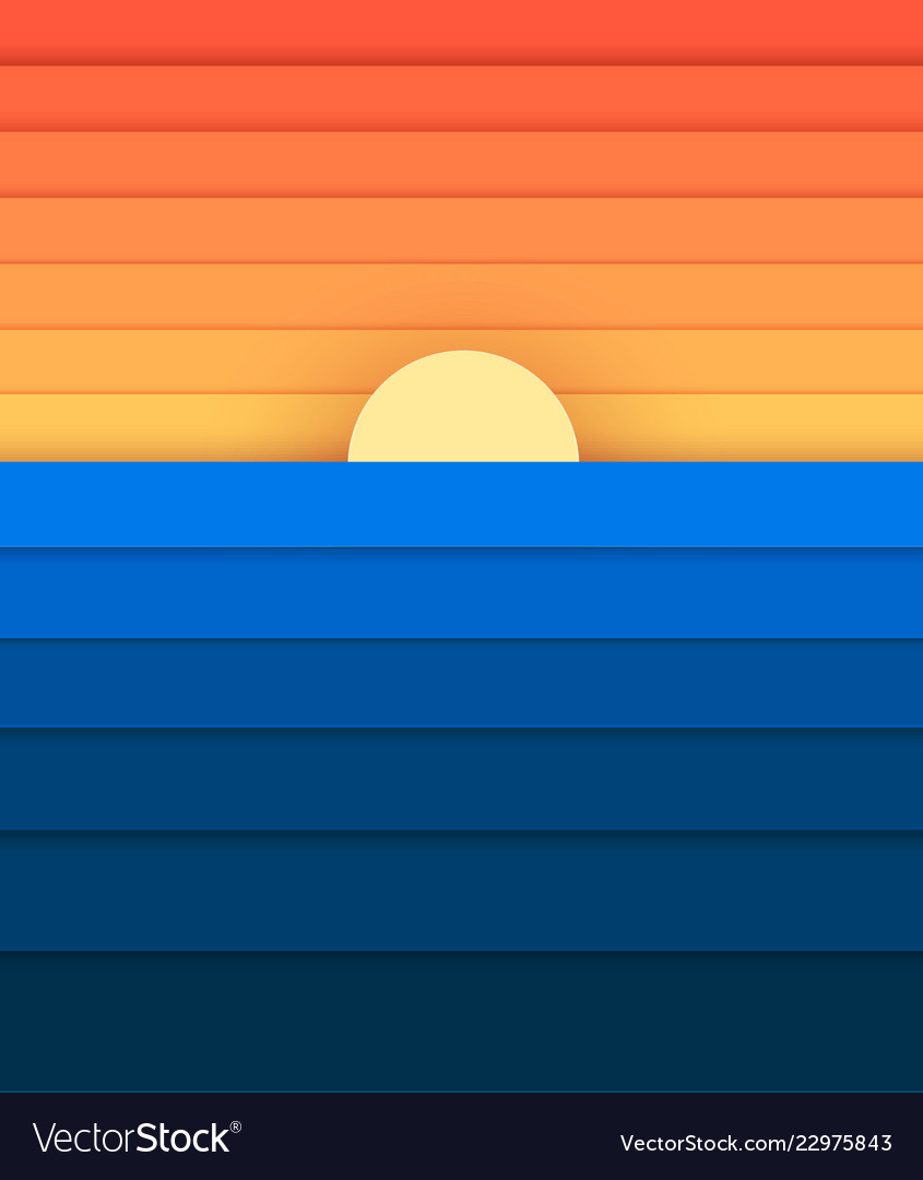 Sun and sea from paper modern banner for design