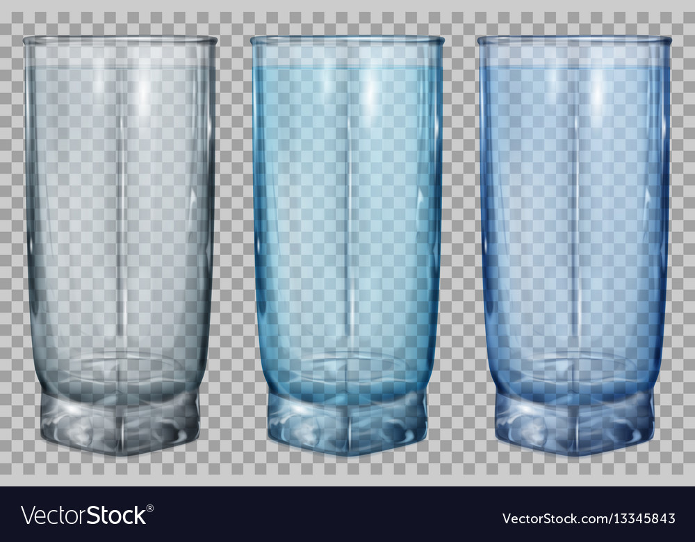 Three transparent glasses for water or juice vector image