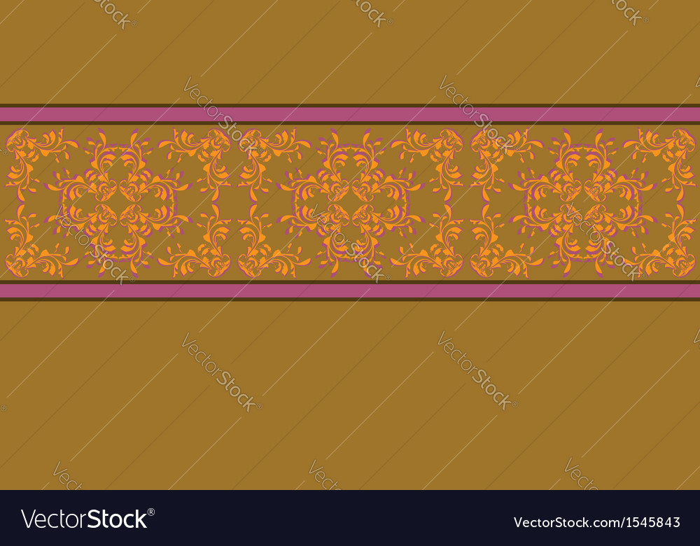 Yellow background with flower pattern vector image