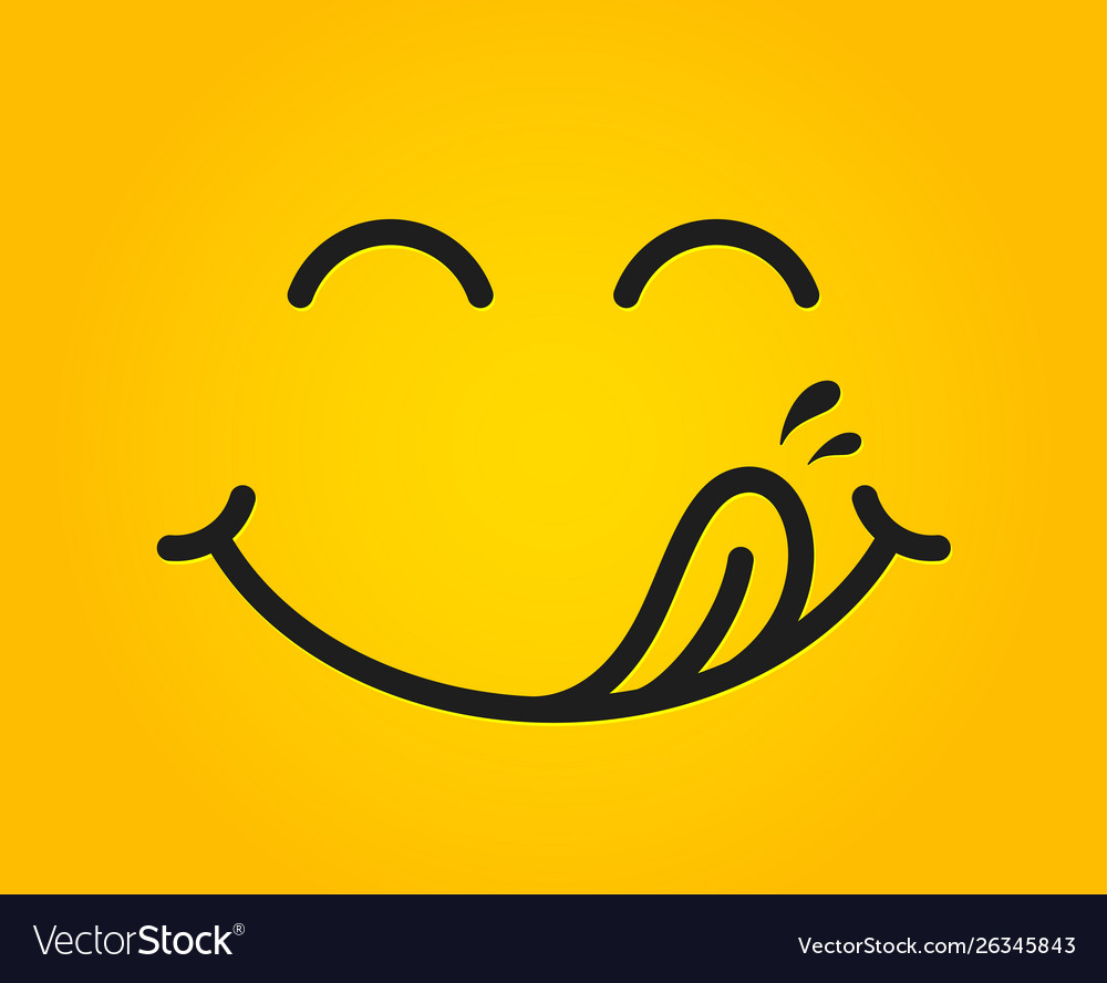 Yummy smile emoticon with tongue lick mouth tasty Vector Image