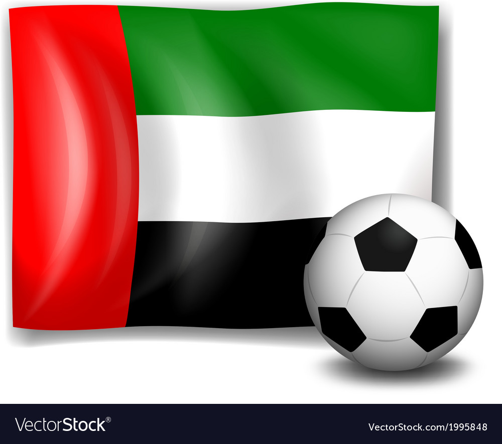 A soccer ball and the flag of United Arab Emirates vector image