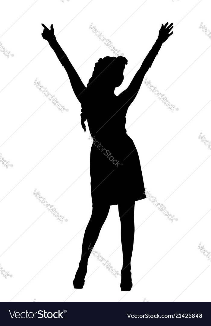 Attractive woman in short dress silhouette