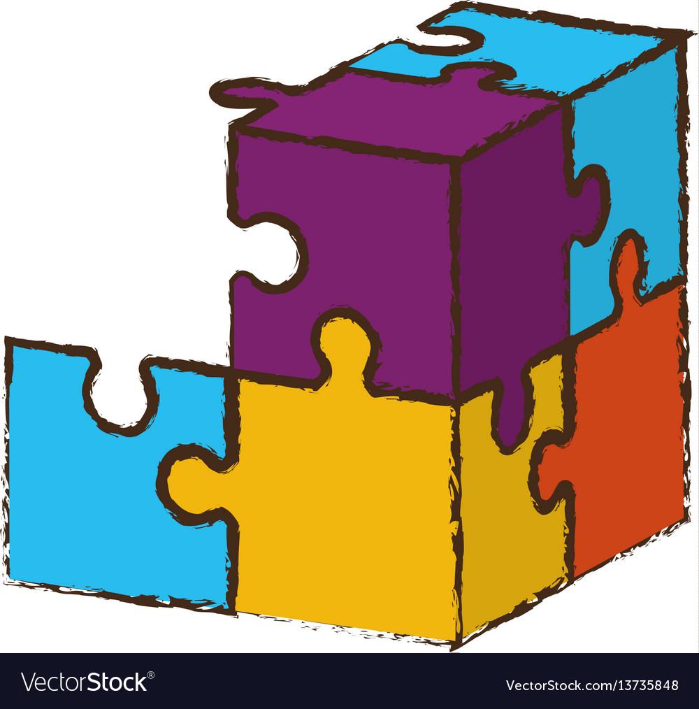 Cube puzzle pieces image