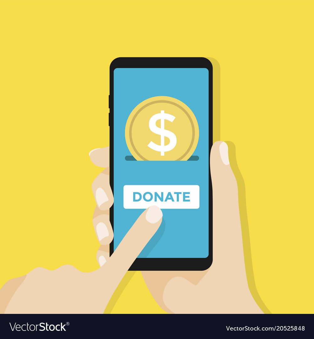 Gold coin and donate button on smartphone screen vector image