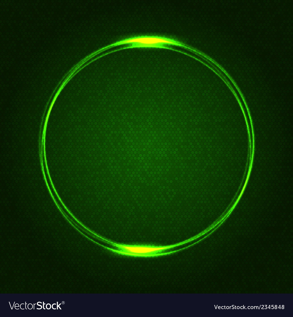 Green Glowing Rings on Dark Dotted Abstract