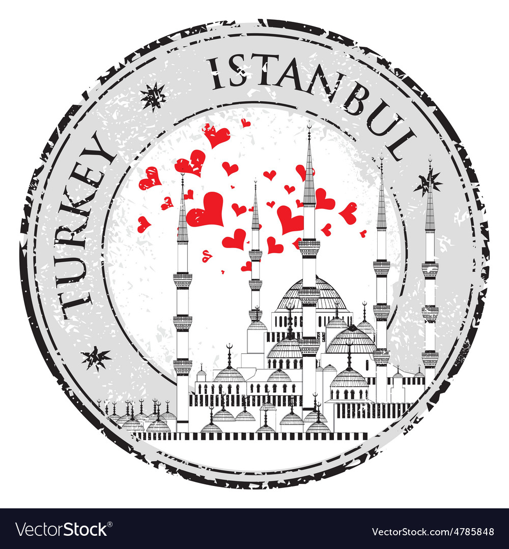I Love Istanbul Design stamp with heart The Blue