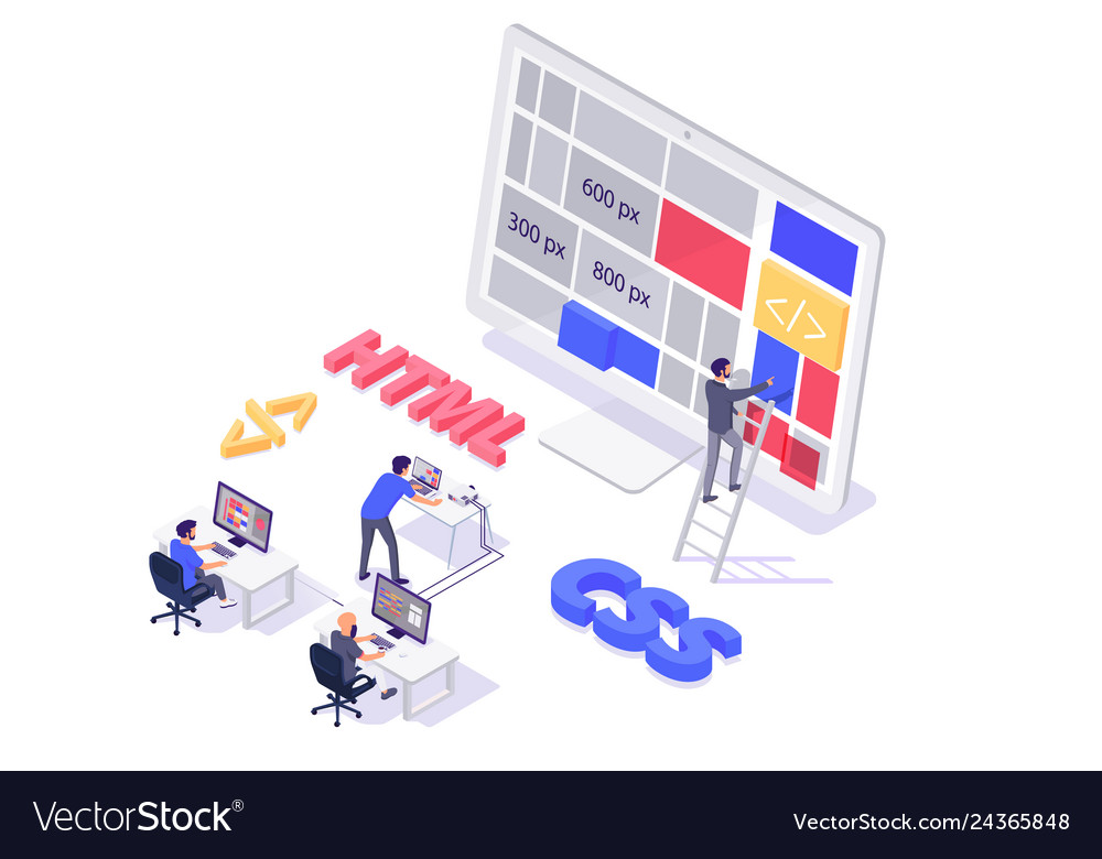 Isometric 3d teamwork building and do layout new