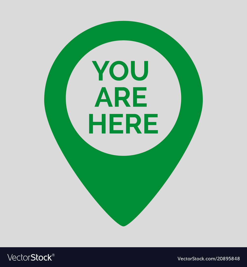 Marker Location Icon With You Are Here Royalty Free Vector