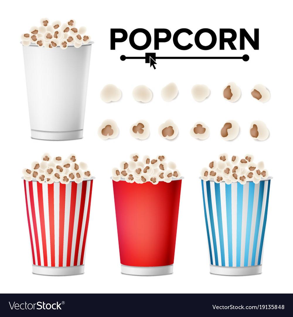 Popcorn cup set realistic classic cup full