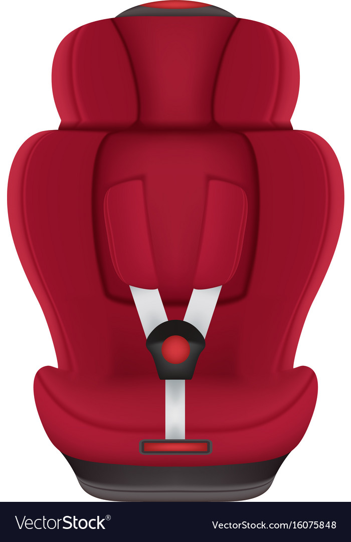Red child car seat isolated on a white background