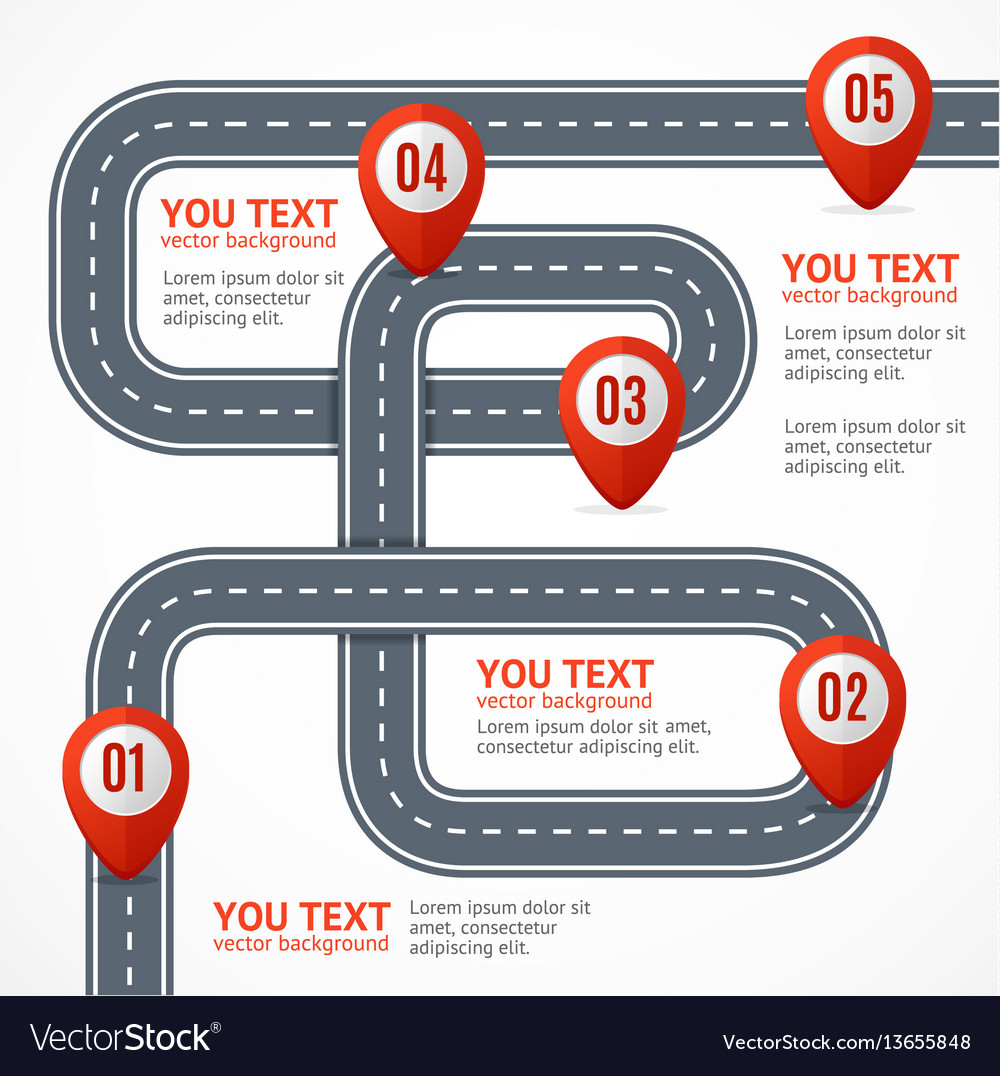 Road infographic with location mark elements