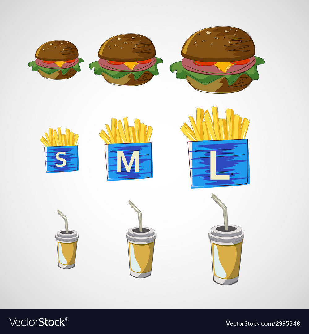 Set of fast food drink burger fries