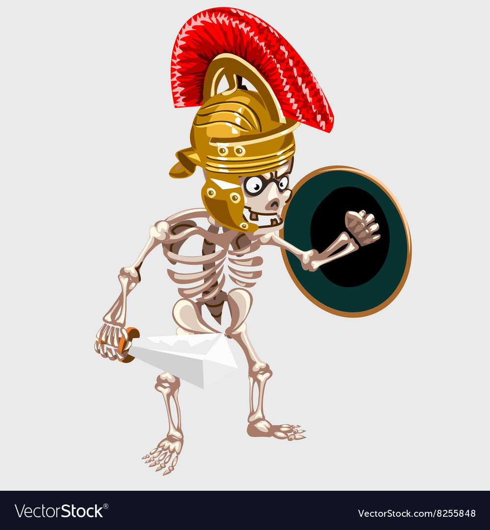 Skeleton knight with sword and shield vector image