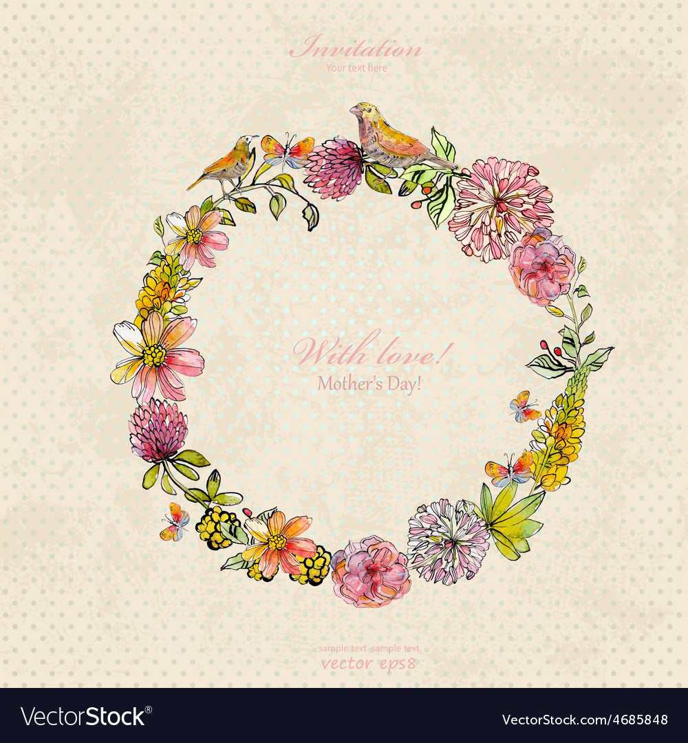Vintage wreath with cute birds and flowers