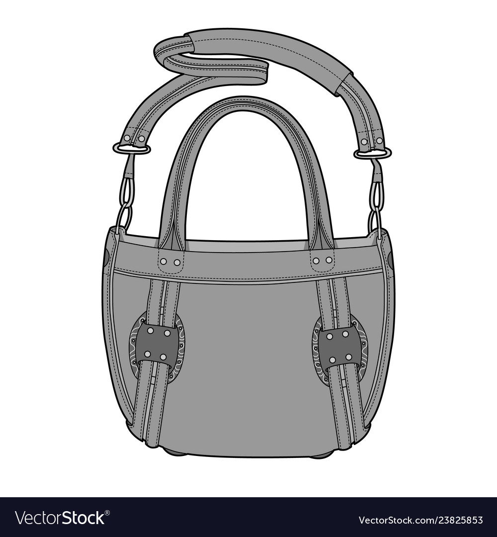 Bag Fashion Flat Technical Drawing Template Vector Image