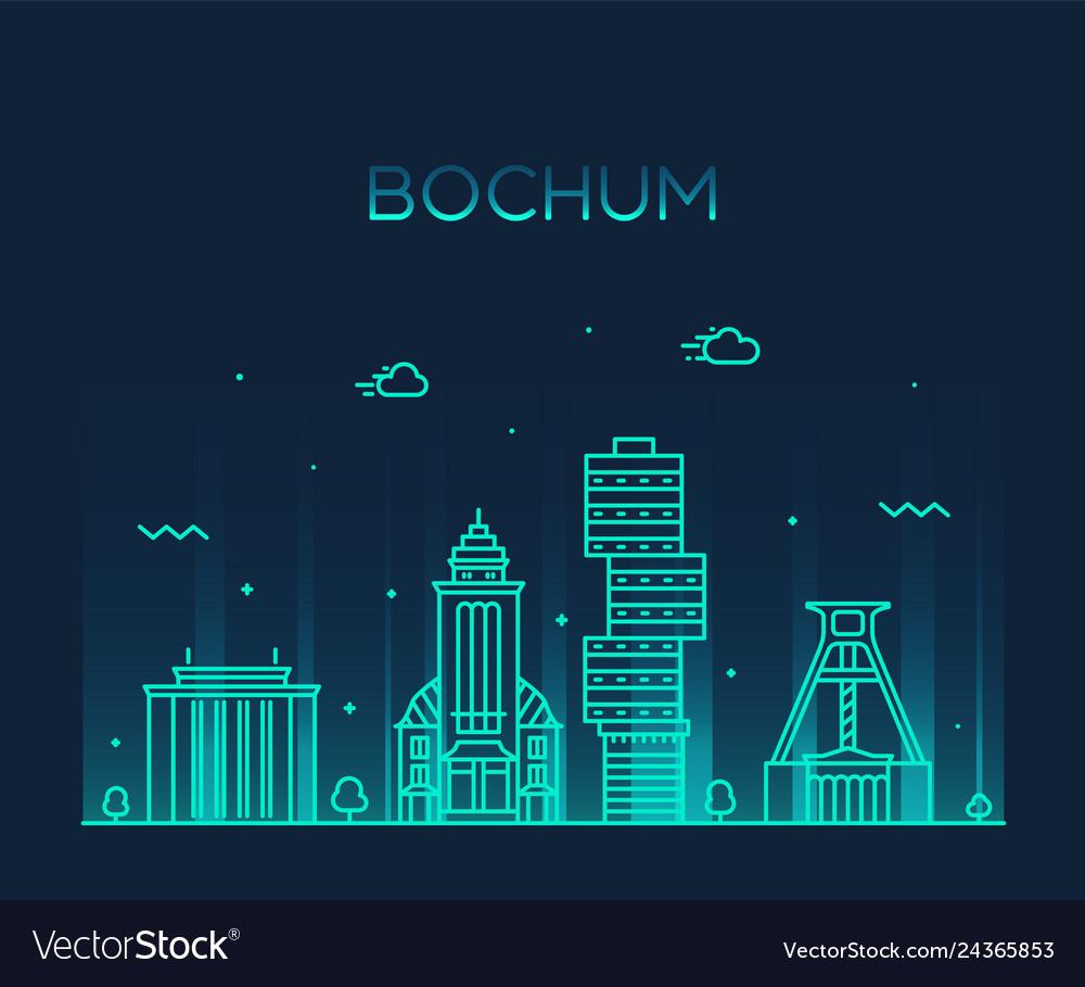 Bochum skyline germany city linear style